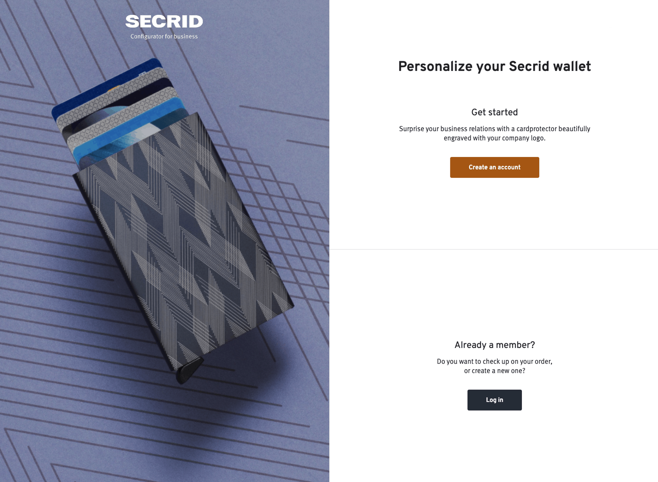 The Secrid portal for corporate gifts.